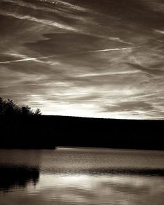Lake at Sunrise - Landscape Photography - Black and White, Nature Art Prints - Scenic Wall Art - Classic Home Décor