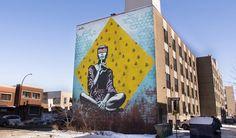 mateo explores consumption in más mural in montréal Montreal, Graffiti, Pavement Art, Urbane Kunst, Street Art, Street View, Quiet Moments, Sand Art, Public Art