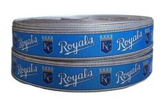 7/8 Inch Grosgrain Kansas City Royals, Sports Ribbon, Sports Grosgrain , Baseball Ribbon, Grosgrain Ribbon By The Yard by KC Elastic Ties