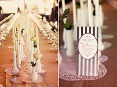 I like the use of milk glass bud vases for centerpieces...but with a bright flower instead of light.