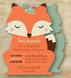 Custom Kid's Birthday Invitation  | Birthday Fox Personalized Die Cut Party Invitation | Custom Fox Kid's Invite | Party Invitation for Kids
