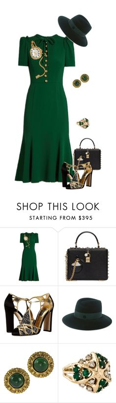 """Style It in Green!"" by eva-kouliaridou ❤ liked on Polyvore featuring Dolce&Gabbana, Maison Michel and Chanel"
