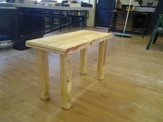 Laminated plywood table top and legs with an oil finish