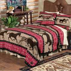 GIRLS HORSE BEDDING - HORSE THEMED BEDDING and COORDINATING ROOM DECOR