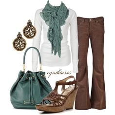 Casual Outfit, love the combination of dusty teal and brown......