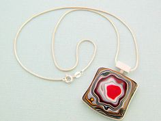 Detroit Agate Jewelry. Fordite Necklace. Sterling Silver Fordite Jewellery. One of a Kind. Contemporary. Handmade jewelry by ZaZing by ZaZing on Etsy