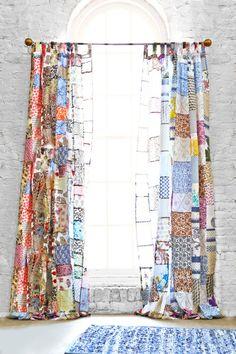 ✽ boho patchwork curtains - i bocconcini di beach eau Patchwork Curtains, Boho Curtains, Window Curtains, Unique Curtains, Sewing Curtains, Beige Curtains, Patterned Curtains, Layered Curtains, French Curtains