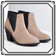 "Price ⬇️Urban Outfitters Elastic Ankle Bootie These contemporary suede Chelsea booties feature contrasting elastic wrapped around the heel for a modern slip on construction. Finished with a sleek stacked heel layered with a grippy rubber sole. Size 9.      Heel height-3.5""   Platform height-0.5""    Shaft height-6.5""  NIB. Urban Outfitters Shoes Ankle Boots & Booties"