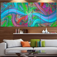 Designart 'Blue Fractal Curves' Abstract Wall Art on Canvas