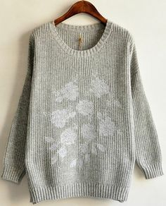 Grey Long Sleeve Embroidery Vintage Sweater