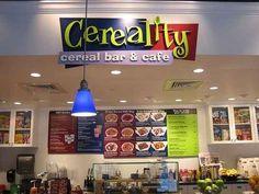 Cereality Breakfast Cereal Restaurant- Would LOVE to go here! Peanut Butter Brands, Peanut Butter And Co, Breakfast Restaurants, Unique Restaurants, Chobani Greek Yogurt, Frozen Yogurt, Restaurant Names, Restaurant Bar, Rice Krispie Treats