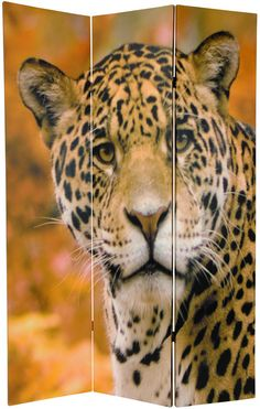 """70.88"""" x 47"""" Double Sided Leopard 3 Panel Room Divider"""