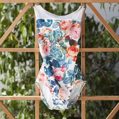 Trending print! Lovely peony base portion and white mesh accent. Bright and feminine florals are to die for!