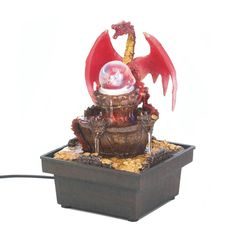 Red Dragon Tabletop Fountain Home Decor Electric Waterfall Free Shipping NEW