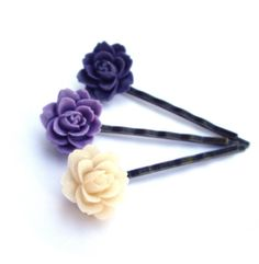 Flower Hair pins purple lilac and creamy lotus Set by @JP with Love http://etsy.me/ol9S13 #Flower #Hair_pins #purple #lilac #lotus $16