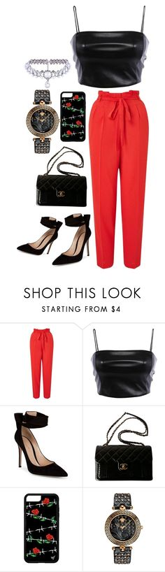 """""""Red pants"""" by heidibartholdy on Polyvore featuring Miss Selfridge, Gianvito Rossi, Chanel, Versace and WithChic"""