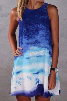Blue Ocean Wave Shift Dress