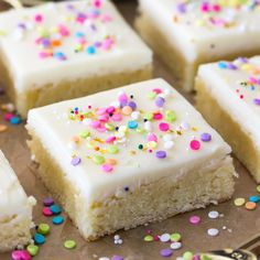 Buttery-soft sugar cookie bars topped off with a sweet buttercream frosting and plenty of colorful sprinkles! These are a great treat any time of year!
