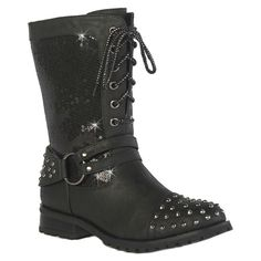 Gia-Mia Girls' Chic Studded Combat Boots - Black