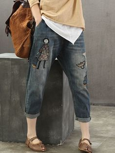 Embroidery Cartoon Girl Patch Elastic Waist Denim is a trendy, Newchic provides wide range of best cheap Denim & Jeans for you. Jeans Denim, Patched Denim, Jeans Pants, Themed Outfits, Online Shopping For Women, Casual T Shirts, Girl Cartoon, Stretch Jeans, Tshirts Online