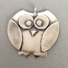 Fine Silver Precious Metal Clay Owl Pendant by GeorgetteFJewelry