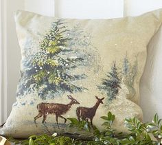 Finally found this damn thing... in Texas mind you. Must remember to buy things when I see them!!! Deer in Snow Pillow Cover #potterybarn
