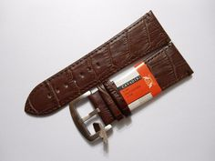 Uhrenarmband Leder Uhr Armband Kroko Print Watch Strap Leather Band braun 28 mm