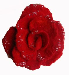 Red Rose Felted Brooch Red Flower Pin Raindrops on by AmareteArt