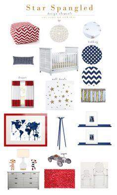 Star Spangled Design Board | patriotic nursery | kids design | nursery ideas | red white & blue with gold stripes