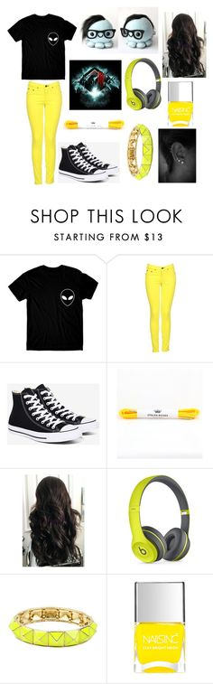"""""""Been listening to a lot of dubstep lately"""" by abbyschellhase ❤ liked on Polyvore featuring rag & bone, Converse, Beats by Dr. Dre, Amrita Singh and Nails Inc."""