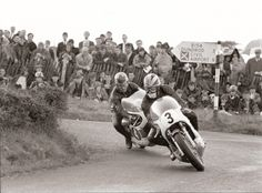 "tulikas: "" Ulster GP. Phil Read leads Bill Ivy around the hairpin. Both on Yamaha 250-4's. """