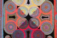 Liz Whitney Quisgard, close up of textile embroidry, at the Berkshire Museum