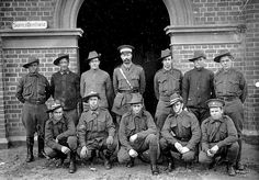 A officer and soldiers in front of a supply depot. Place & Date Depicted Bendigo, Victoria, Australia, circa 1914 Creator W H Robinson Studio, circa 1914 Melbourne Victoria, Victoria Australia, Australian Architecture, Still Standing, World War One, Good Cause, Back In The Day, Historical Photos, Family History