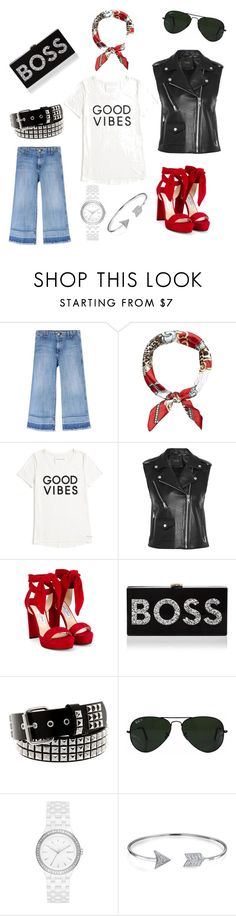 """2016 Chic Moto Wear"" by jessie-marshall-urban ❤ liked on Polyvore featuring Current/Elliott, New Look, Tommy Hilfiger, Maje, Jimmy Choo, Milly, Ray-Ban, DKNY and Bling Jewelry"