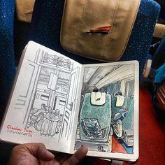 Stasiun Tugu, Jogja Regram from @coretanino #sketchwalker #train #keretaapi