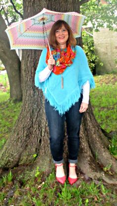 Teal Poncho, Orange Flats, /Floral Scarf, Spring Outfit, over 40 fashion blogger