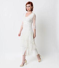 UniqueVintage Nataya 1930s White Embroidered Titanic Tulle Tea Length Dress