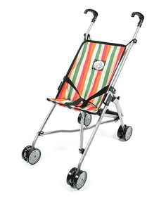 This Watermelon Stripe Stroller for 18'' Doll is perfect! #zulilyfinds