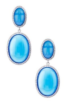 Sterling Silver CZ & Blue Agate Double Oval Dome Earrings