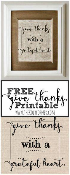 FREE Give Thanks Printable | The Kolb Corner