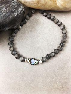 Unique Beaded Stretch Bracelet - Yoga Bracelet, Boho Bracelet, Abalone Shell, Gray Labradorite Bracelet, Grey Bracelet, Bead Bracelet | https://www.etsy.com/listing/263399781/beaded-stretch-bracelet-yoga-bracelet
