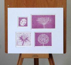 The Seed Head Collection Original Lino Print - magenta by Debi Holland