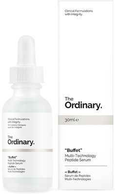 """Buffet"" - 30ml - Multi-Technology Peptide Serum This formula combines a comprehensive array of studied technologies to target multiple signs of ageing at once. The technologies are Matrixyl 3,000 peptide complex (with palmitoyl-pentapeptide 35), Matrixyl Synthe'6 peptide complex (with palmitoyl tripeptide-38), Syn-Ake peptide complex (with dipeptide diaminobutyroyl benzylamide diacetate), Relistase peptide complex (with acetylarginyltryptophyl diphenylglycine), Argirelox peptide complex…"