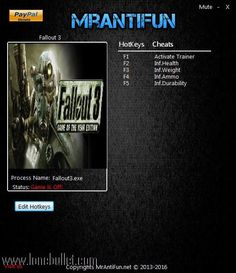 Hi fellow Fallout 3 fan! You can download Fallout             3 V1.5  12 Trainer for free from LoneBullet - http://www.lonebullet.com/trainers/download-fallout-3-v15-12-trainer-free-2846.htm which has links for resume support so you can download on slow internet like me
