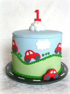 Birthday Cake Idea, use car from first pic with 2 on front instead of cloud and number. Use rainbow cake inside. Baby Cakes, Cupcake Cakes, 3d Cakes, Car Cakes For Boys, Little Boy Cakes, Super Torte, 2 Birthday Cake, 1st Birthday Cakes For Boys, Girl Birthday