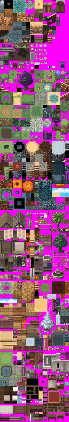 "Tiles - These are not my textures - I have thousands of these little ""SQUARES!!"" again SQUARES in my life as an artist!!- Textures that I created for games I worked on- OH yes and the RED GREEN BLUE(RGB) 255 pink which is transparent in the game!!"