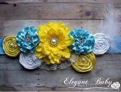 Blue Yellow and White Maternity Sash Photo Prop