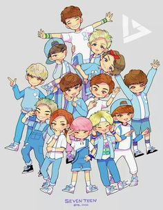 Seventeen fanart! hah i spotted Joshua in the white shirt, Woozi in the obvious pink hair, and i forgot his name but the guy with long hair, and Vernon with the red headband