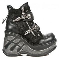 Chaussures New Rock Neo Cuña Sport en Cuir Drama Noir M.SP0005-C1