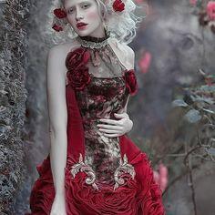 My another one, fantasy image with @angina.ill model dress from @bibianblue fashion designer #agnieszkalorek #reddress #fantasy #fairytale #romantic #rose #flowersinmyhair #red #ladyinred #whitehair #naturalhair #sadness #dollface #pretty #shoot #ornaments #gown #dress #secretgarden #magic #love #instalove